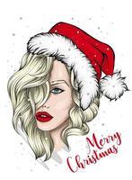 schönes Mädchen in Weihnachtsmütze vektor
