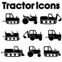 olika traktorer och byggmaskiner svart ikonuppsättning vektor