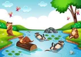 Ottergruppe in der Waldszene vektor