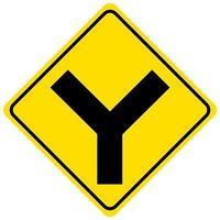 y vägskylt gult tecken på vit bakgrund