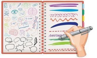 hand Rita medicinsk vetenskap element doodle på anteckningsboken