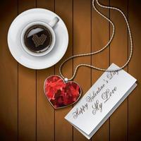 kaffekopp med brev och hänge vektor