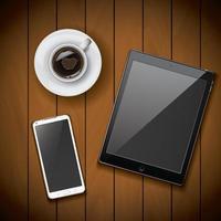 Smartphone- und Tablet-Modellvorlage mit Kaffeetasse vektor