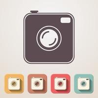 flache Ikonen der alten Fotokamera eingestellt vektor