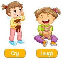 entgegengesetzte Worte mit Weinen und Lachen