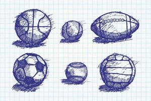 Ballskizze mit Schatten auf dem Boden gesetzt vektor