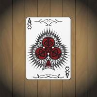 Ass der Vereine Poker Karte Holz Hintergrund
