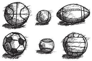 Ballskizze gesetzt mit Schatten auf dem Boden isoliert vektor