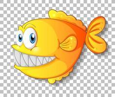 gul exotisk fisk seriefigur på transparent bakgrund vektor
