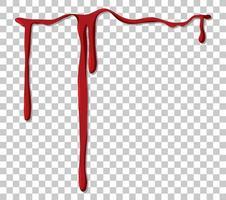 rött droppande blod på transparent bakgrund