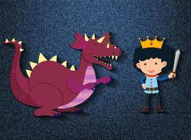 kleine Ritter- und Drachenzeichentrickfigur