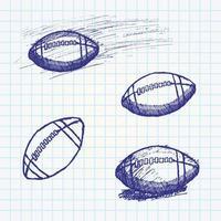 rugby amerikansk fotboll skiss på papper anteckningsbok