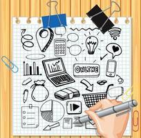 handteckning sociala medier element på papper vektor