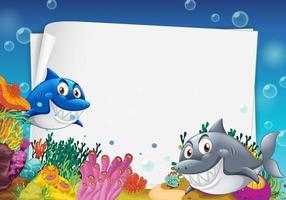 tomt pappersmall med många hajar seriefigur i undervattensscenen vektor