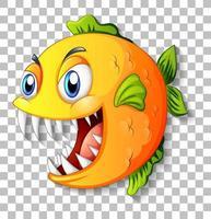 exotischer Fisch mit Zeichentrickfigur der großen Augen auf transparentem Hintergrund
