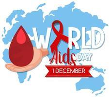 världens hjälpdagslogotyp eller banderoll med rött band på världskartan bcakground