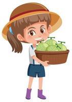 barnflicka med frukt eller grönsaker på vit bakgrund