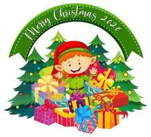 Frohe Weihnachten 2020 Schriftart Banner mit niedlichen Elfen und vielen Geschenken auf weißem Hintergrund