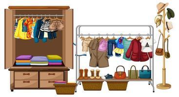 Kleider hängen im Kleiderschrank mit Accessoires und Kleidung Rang auf weißem Hintergrund