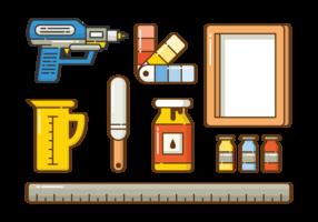 Siebdruck Icon Set vektor
