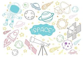 uppsättning rymd element doodle isolerad på vit bakgrund vektor