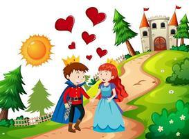 prins och prinsessa med slottet i naturscenen vektor
