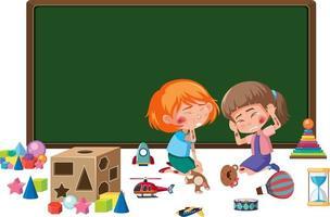 unga flickor skadade på kinden och armen från att leka med många leksakselement vektor