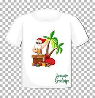 Weihnachtsmann im Sommerkostümkarikaturcharakter auf T-Shirt lokalisiert auf transparentem Hintergrund