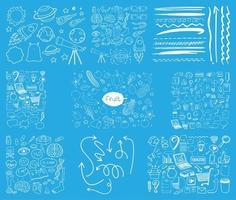 Satz gezeichneter Gekritzel der Objekt- und Symbolhand auf blauem Hintergrund vektor