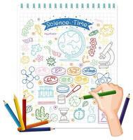 hand ritning vetenskap element klotter på papper