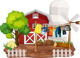 vor dem Haus Bauernhof mit Kleidung an Wäscheleinen hängen vektor