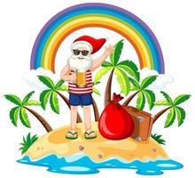 Weihnachtsmann auf der Strandinsel für Sommerweihnachten
