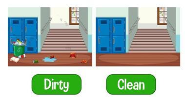 entgegengesetzte Adjektive Wörter mit schmutzig und sauber vektor