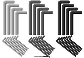 Vector Allen Keys i olika färg och storlekar