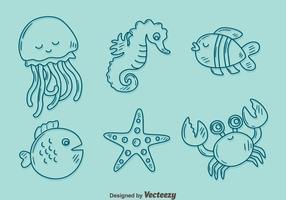 skissa samling vektor för havet varelse