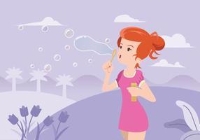 Junge Frau Blasen Ein Bubble Blower vektor