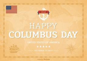 Glückliche Columbus-Tagesbeschriftung auf alter Weltkarte
