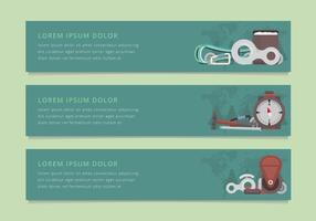 Rappel Werkzeuge und Ausrüstung Illustration. Web-Banner-Vorlage. vektor