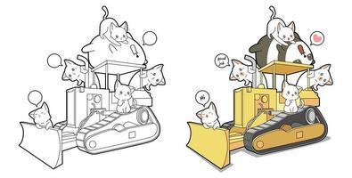 panda och katter med traktor tecknad målarbok vektor