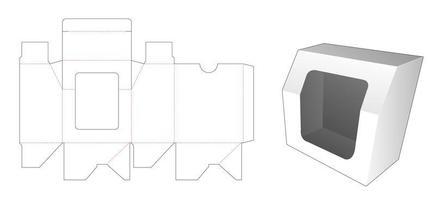 avfasad presentförpackning med mall för fönsterskärning