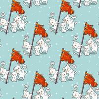 sömlös kawaii kattinnehav flagga och vänner mönster vektor