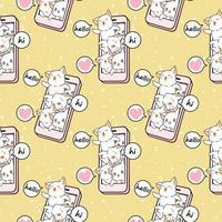 sömlösa kawaii-kattkaraktärer i mobiltelefonmönster vektor