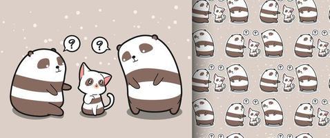 sömlös kawaii katt och två panda karaktär mönster vektor