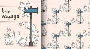 sömlösa kawaii katter och guidepost mönster vektor