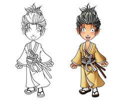 süße Samurai Cartoon Malvorlagen für Kinder