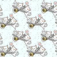nahtlose kawaii Katze, die Flugzeug mit Freundmuster fährt vektor