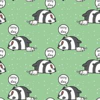 nahtlose kawaii Panda und Katze faulen Tag Muster vektor