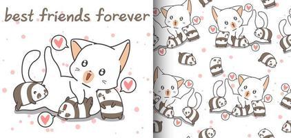 sömlös bedårande katt och små pandamönster vektor