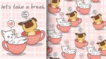 sömlös kawaii katt och hund i koppmönster vektor