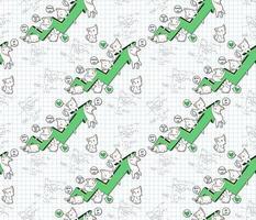 nahtlose kawaii Katzenfiguren mit Erfolgstabellenmuster vektor